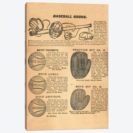 Baseball Goods Canvas Print #SMD3} by Tea Stained Madness Canvas Art Print