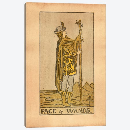 Page Of Wands Tarot Canvas Print #SMD63} by Tea Stained Madness Canvas Art