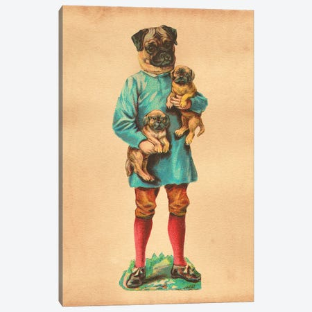 Pug Family Canvas Print #SMD70} by Tea Stained Madness Canvas Print
