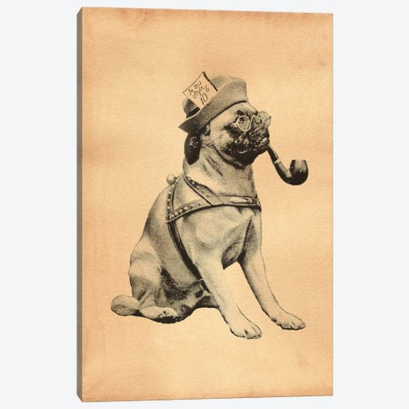 Pug Mad Hatter Canvas Print #SMD76} by Tea Stained Madness Canvas Wall Art