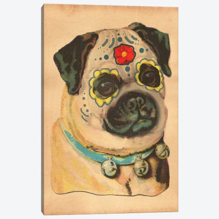 Pug Sugar Skull Canvas Print #SMD80} by Tea Stained Madness Canvas Art