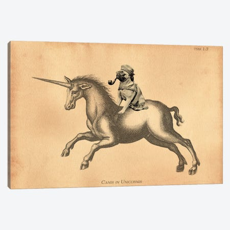 Pug Unicorn Canvas Print #SMD82} by Tea Stained Madness Canvas Art