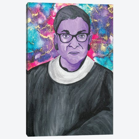 Ruth Bader Ginsburg Acrylic And Alcohol Ink Portrait Canvas Print #SMG39} by Sammy Gorin Canvas Artwork