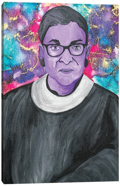 Ruth Bader Ginsburg Acrylic And Alcohol Ink Portrait Canvas Art Print