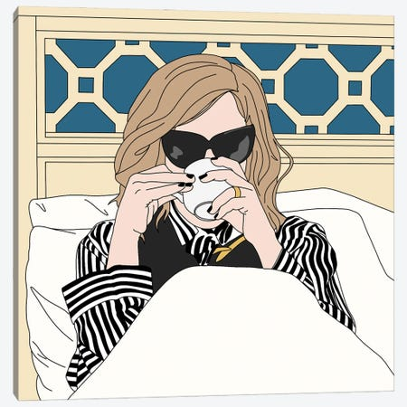 Moira Rose Drinking Coffee in Bed Canvas Print #SMG44} by Sammy Gorin Canvas Wall Art