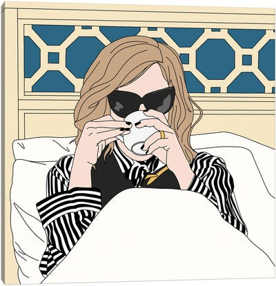 Moira Rose Drinking Coffee in Bed Canvas Art Print
