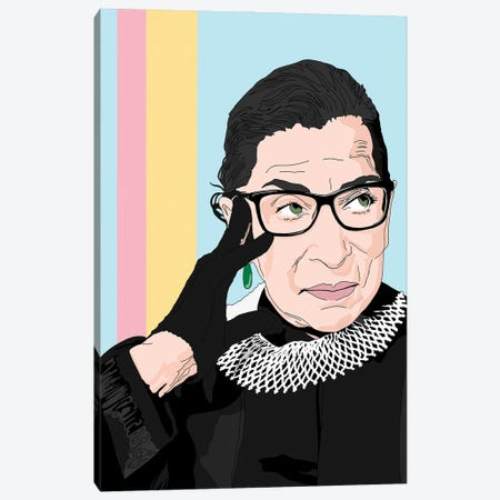 Ruth Bader Ginsburg Illustration Canvas Print #SMG49} by Sammy Gorin Canvas Art Print