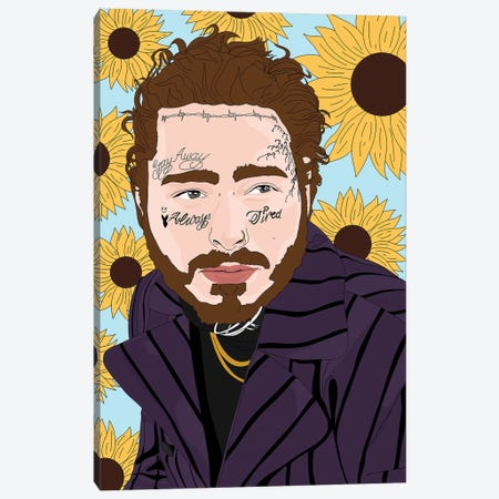Post Malone Canvas Print #SMG59} by Sammy Gorin Canvas Wall Art