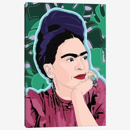 Frida Kahlo Monstera Background Canvas Print #SMG64} by Sammy Gorin Canvas Wall Art