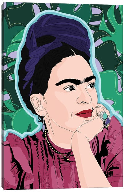 Frida Kahlo Monstera Background Canvas Art Print
