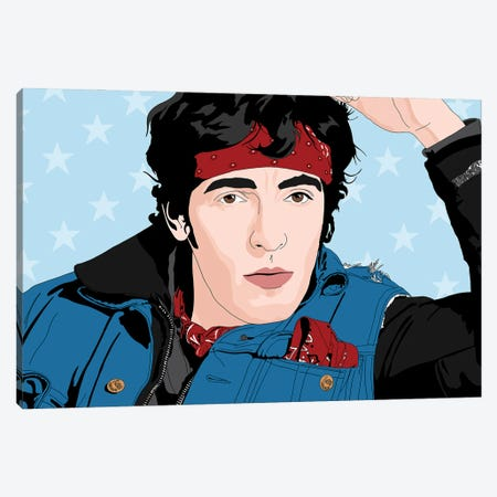 Bruce Springsteen Canvas Print #SMG70} by Sammy Gorin Canvas Wall Art