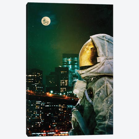 Between The Moon And The City Canvas Print #SML16} by Seamless Canvas Art