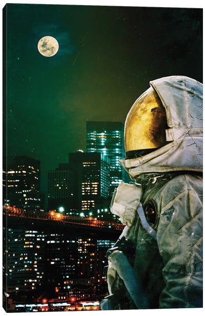 Between The Moon And The City Canvas Art Print