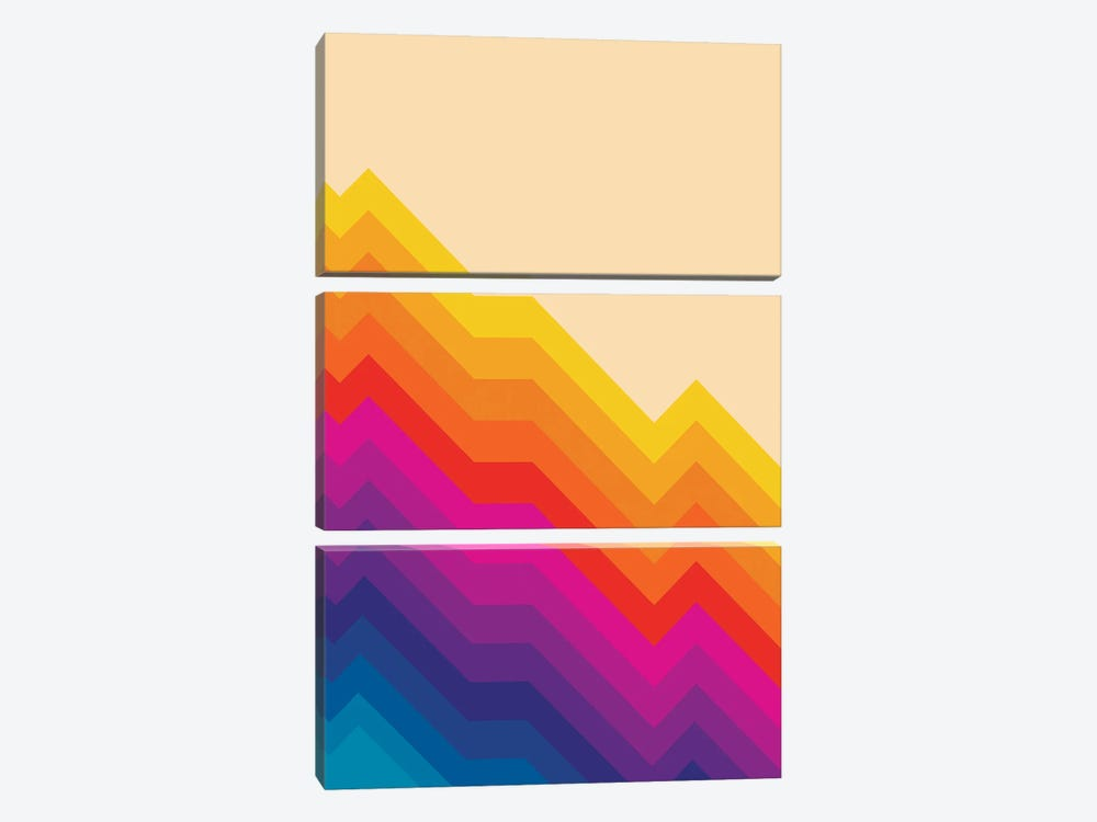 Seventies Rainbow Stripes by Show Me Mars 3-piece Canvas Wall Art