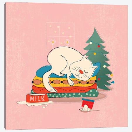 Sleeping Chritmas Cat Canvas Print #SMM168} by Show Me Mars Canvas Art Print
