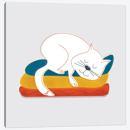 Sleeping White Cat Canvas Print #SMM169} by Show Me Mars Canvas Print