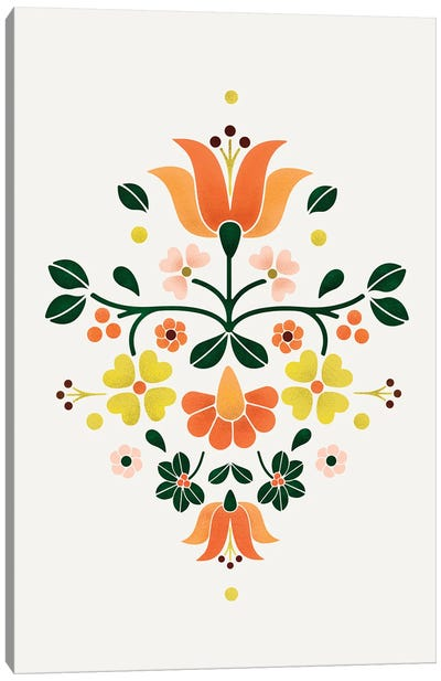 Bright Folf Flowers Canvas Art Print