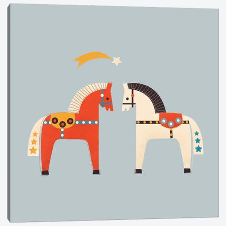 Two Festive Horses Canvas Print #SMM180} by Show Me Mars Canvas Print