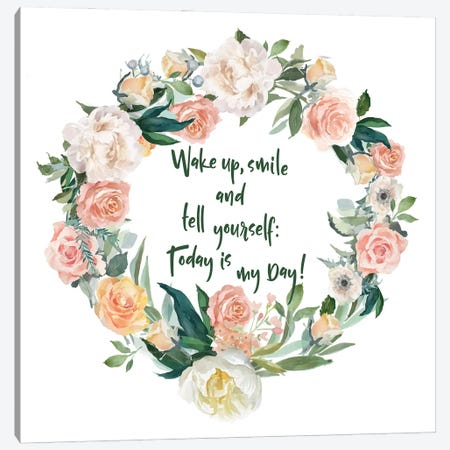Wake Up And Smile Canvas Print #SMM183} by Show Me Mars Canvas Art Print