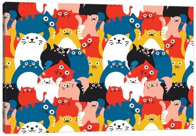 Cats Crowd Pattern Canvas Art Print