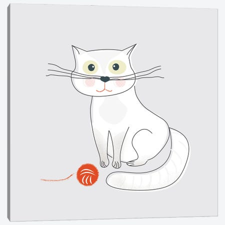 White Cat Canvas Print #SMM191} by Show Me Mars Canvas Art