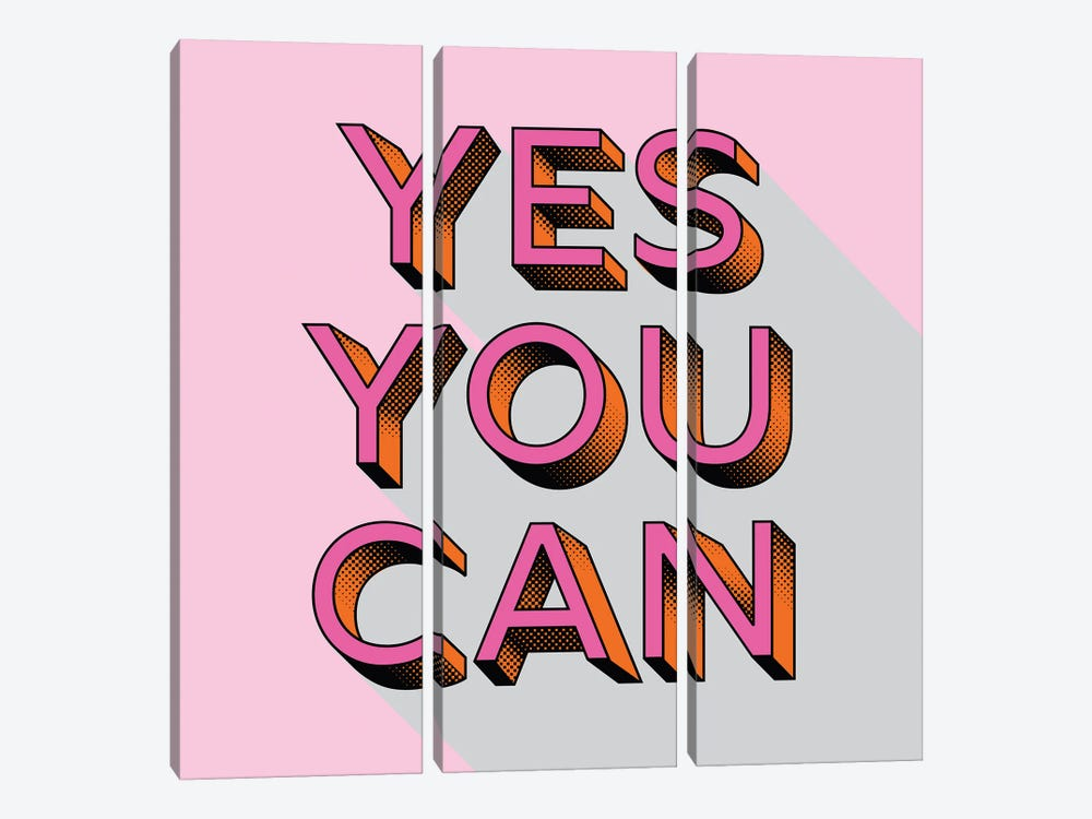 Yes You Can Typography by Show Me Mars 3-piece Canvas Print