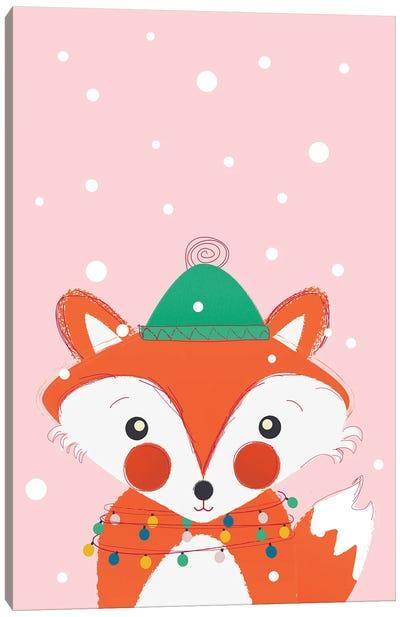 Christmas Animals Cute Fox Canvas Art Print