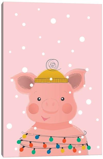 Christmas Animals Cute Pig Canvas Art Print