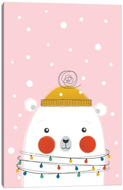 Christmas Animals Cute Polar Bear Canvas Art Print