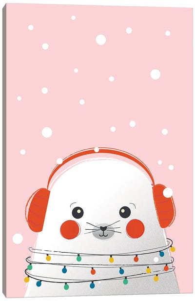 Christmas Animals Cute Seal Canvas Art Print