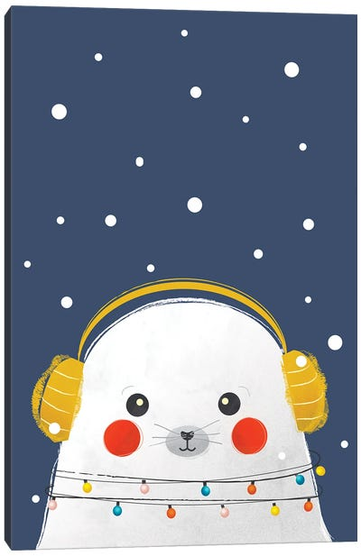 Christmas Baby Seal Canvas Art Print