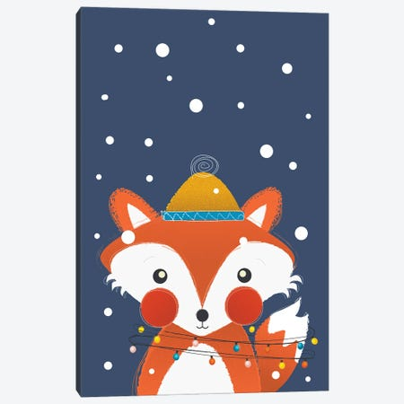 Christmas Fox With Fairy Lights Canvas Print #SMM27} by Show Me Mars Canvas Wall Art
