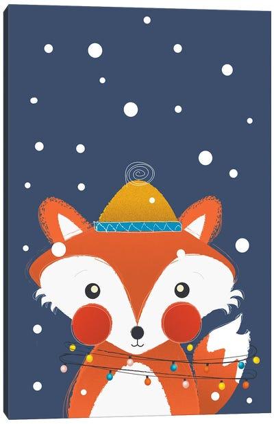 Christmas Fox With Fairy Lights Canvas Art Print