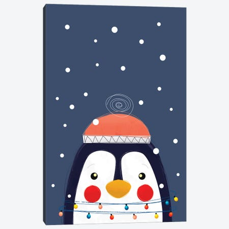 Christmas Penguin Canvas Print #SMM30} by Show Me Mars Canvas Artwork