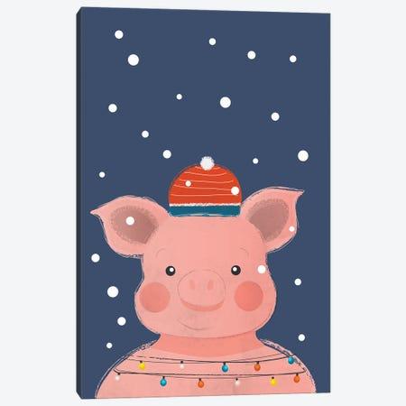 Christmas Pig Canvas Print #SMM31} by Show Me Mars Canvas Artwork