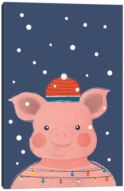 Christmas Pig Canvas Art Print