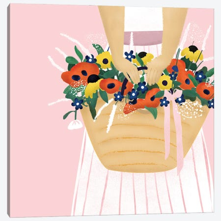 Basket Of Flowers Canvas Print #SMM3} by Show Me Mars Canvas Wall Art