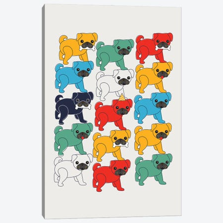 Colorful Pugs Canvas Print #SMM40} by Show Me Mars Canvas Art Print