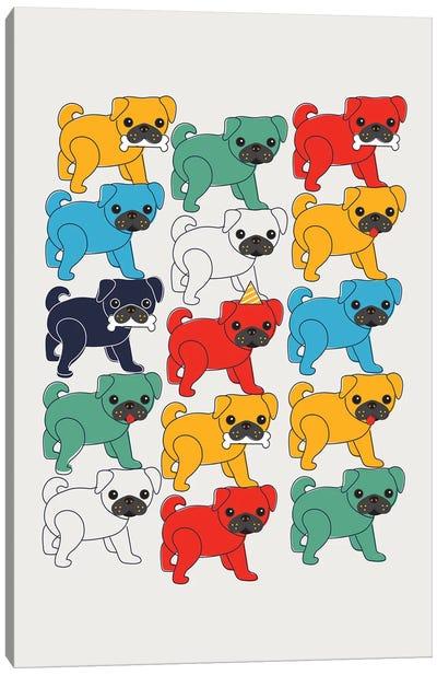 Colorful Pugs Canvas Art Print