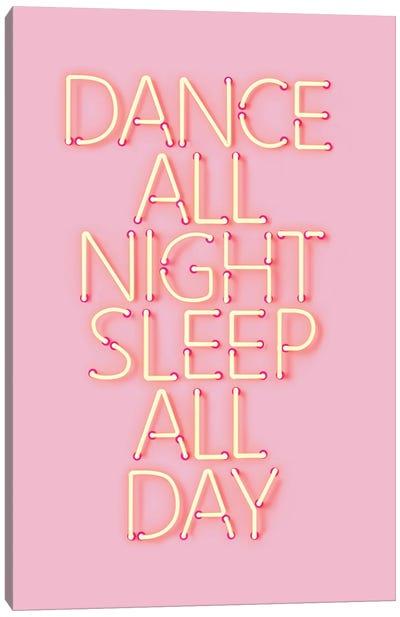 Dance All Night Pink Neon Canvas Art Print