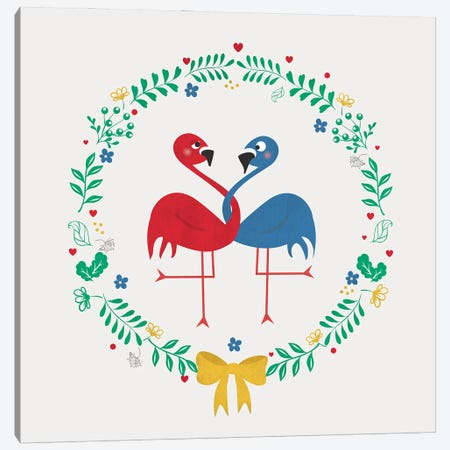 Flamingos In Love Canvas Print #SMM68} by Show Me Mars Canvas Print