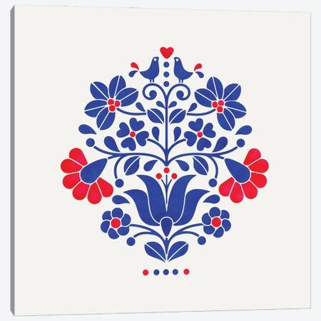 Folk Flowers Motif Canvas Print #SMM70} by Show Me Mars Canvas Art