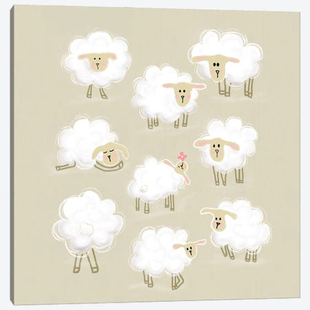 Herd Of Sheep Canvas Print #SMM92} by Show Me Mars Canvas Art