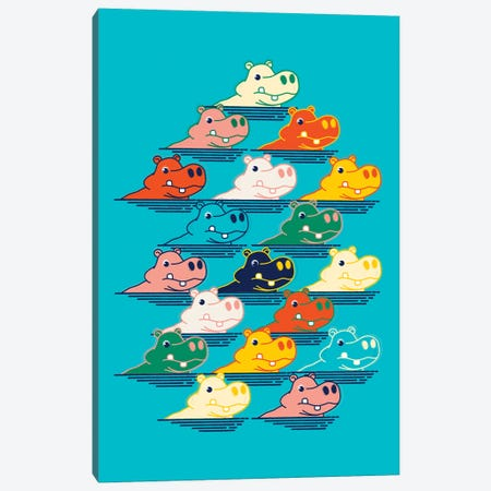 Hippo Family Canvas Print #SMM96} by Show Me Mars Canvas Print