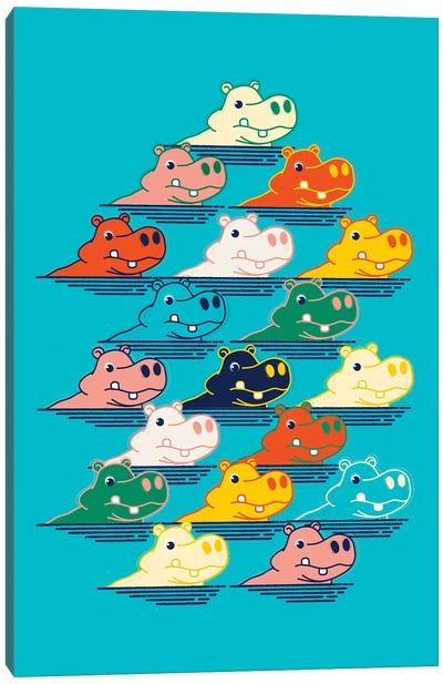 Hippo Family Canvas Art Print