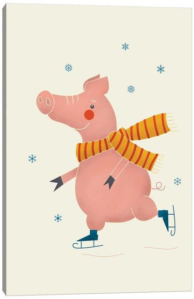 Ice Skating Pig Canvas Art Print