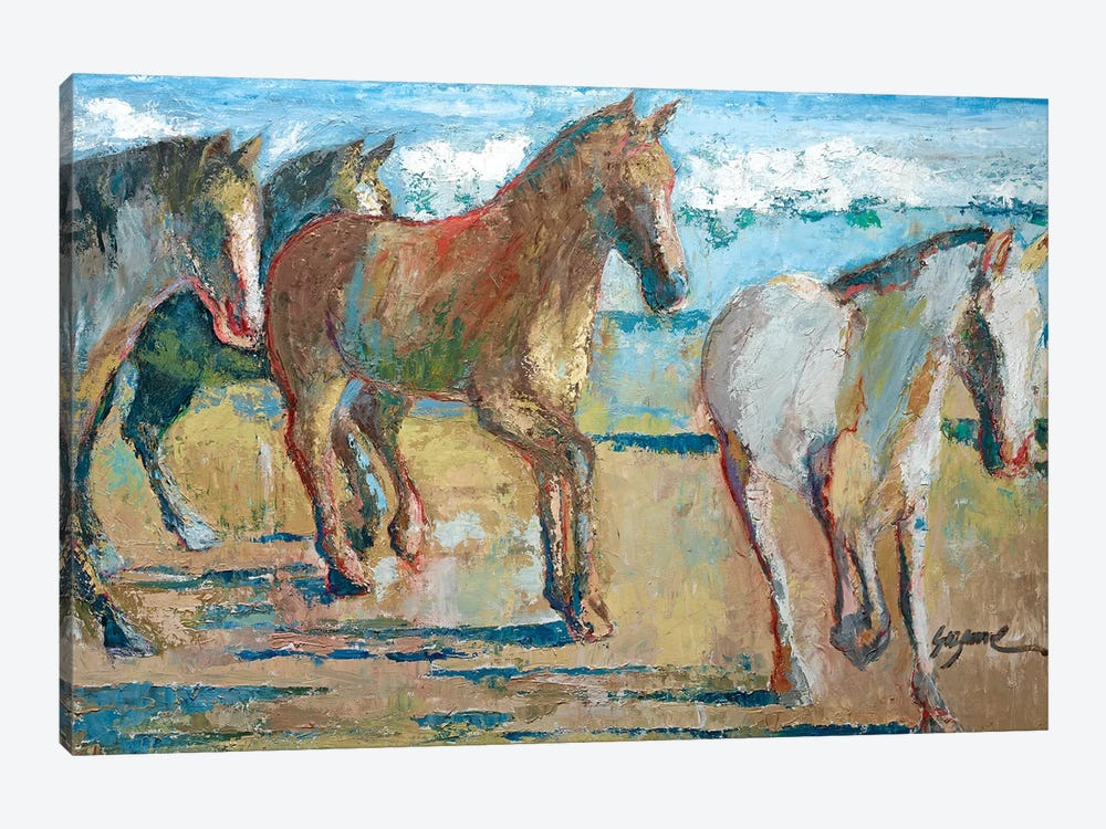 Caballos en la Playa by Suzanne Wilkins 1-piece Canvas Wall Art