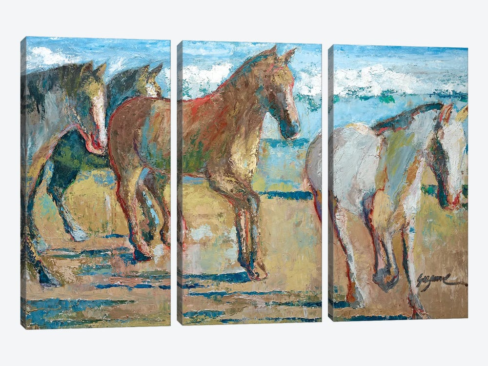 Caballos en la Playa by Suzanne Wilkins 3-piece Canvas Art