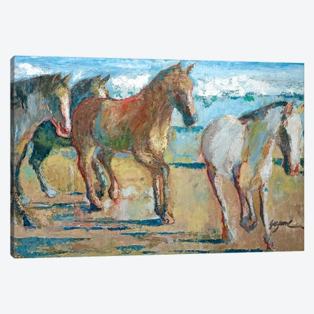 Caballos en la Playa Canvas Print #SMW3} by Suzanne Wilkins Canvas Art Print