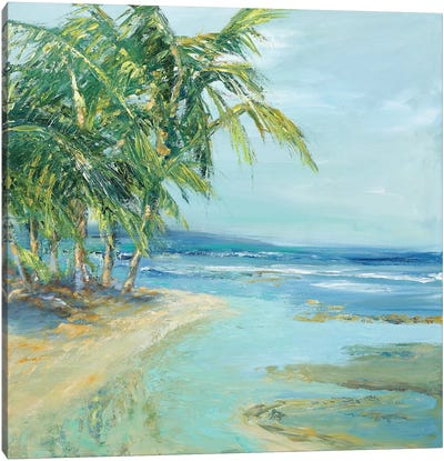 Blue Coastal Lagoon Canvas Art Print